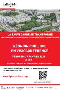 Affiche d'annonce de la réunion publique en visio sur le renouvellement urbain de la Sauvegarde Duchère le 29 janvier 2021