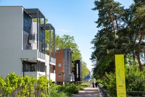 Photo des nouveaux logements à Lyon la Duchère en bordure du parc du Vallon
