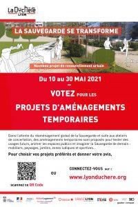 Affiche pour participer au vote sur les propositions d'aménagements temporaires à la Sauvegarde en mai 2021