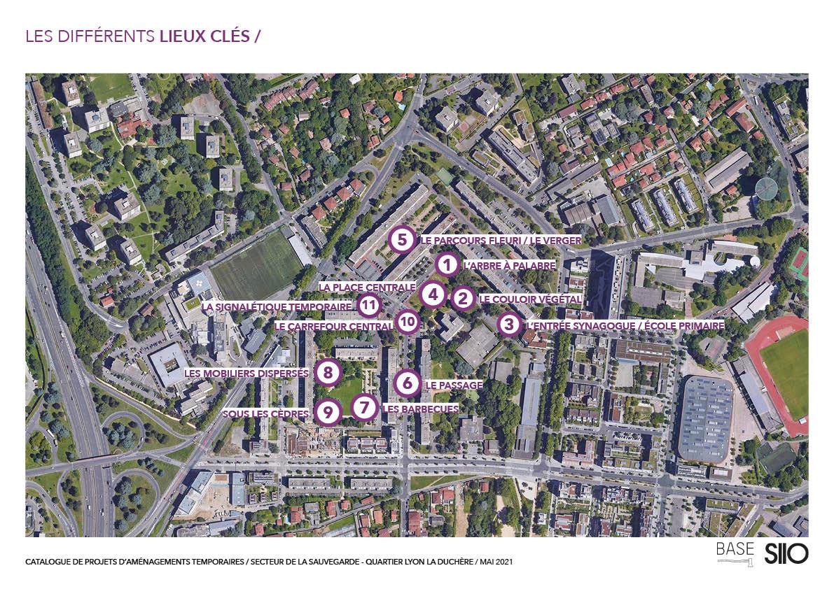 Carte de localisation des projets d'aménagements temporaires à la Sauvegarde. Mai 2021